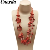 fashion necklace red beaded necklace for women handmade multiple wooden long choker bohemian chain necklaces bridesmaid gift