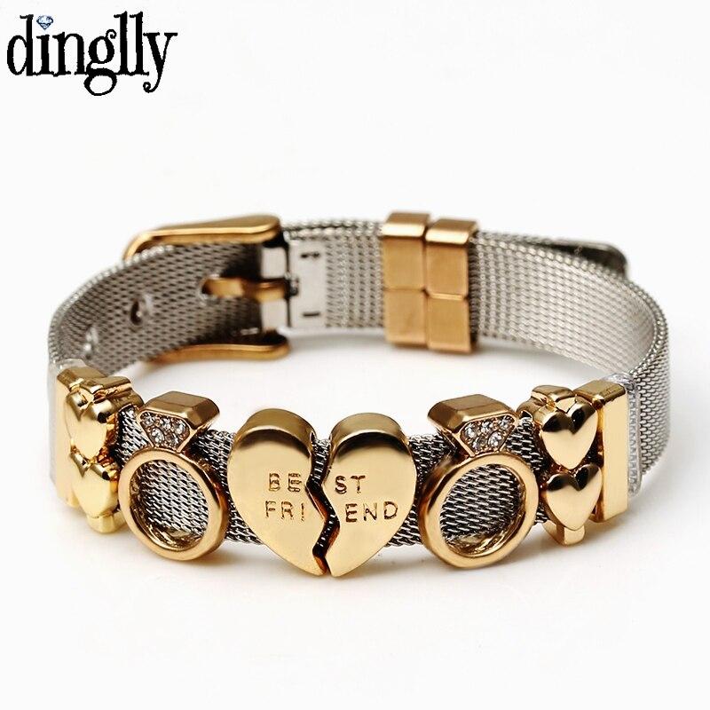 DINGLLY двухцветные сетчатые браслеты из нержавеющей стали для женщин и мужчин с золотым сердечком из бисера 10 мм лента-сетка браслет и подарочные браслеты