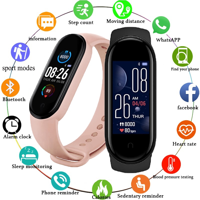 M5 Men Women Smart Watch Sport Smartwatch Heart Rate Blood Pressure Monitor Fitness Bracelet for Android/IOS