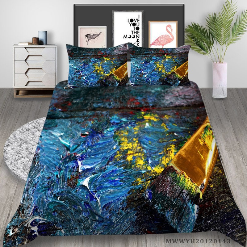 Home Textile 3D Bedding Set Luxury Duvet Cover Set Colourful Painting Child Girls Teen Bedclothes 2/3 Pcs Bed Gift