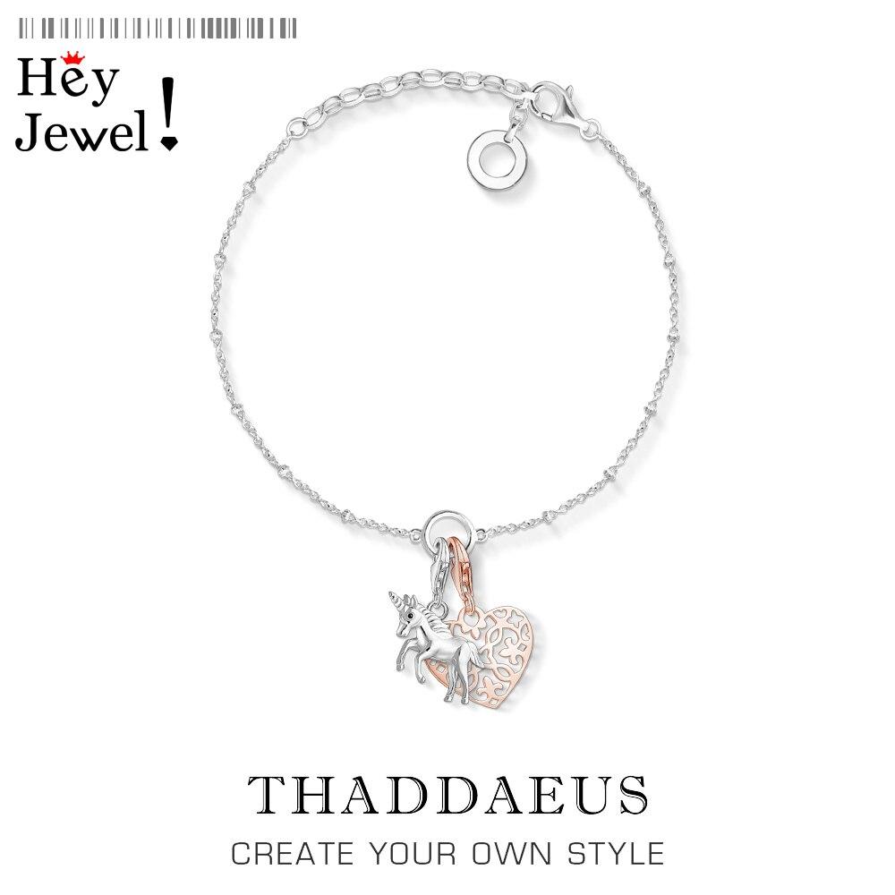 Unicornio y colgante de corazón, pulseras de filigrana, cadena de eslabones, romántico de plata esterlina 925, joyería ajustable de moda, regalo de Thomas para mujer