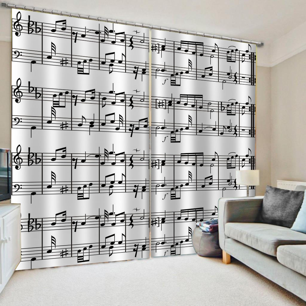 3D Window Curtain Black And White Note Curtains For Living Room Bedroom Blackout Shading Kitchen Cortina Drapes