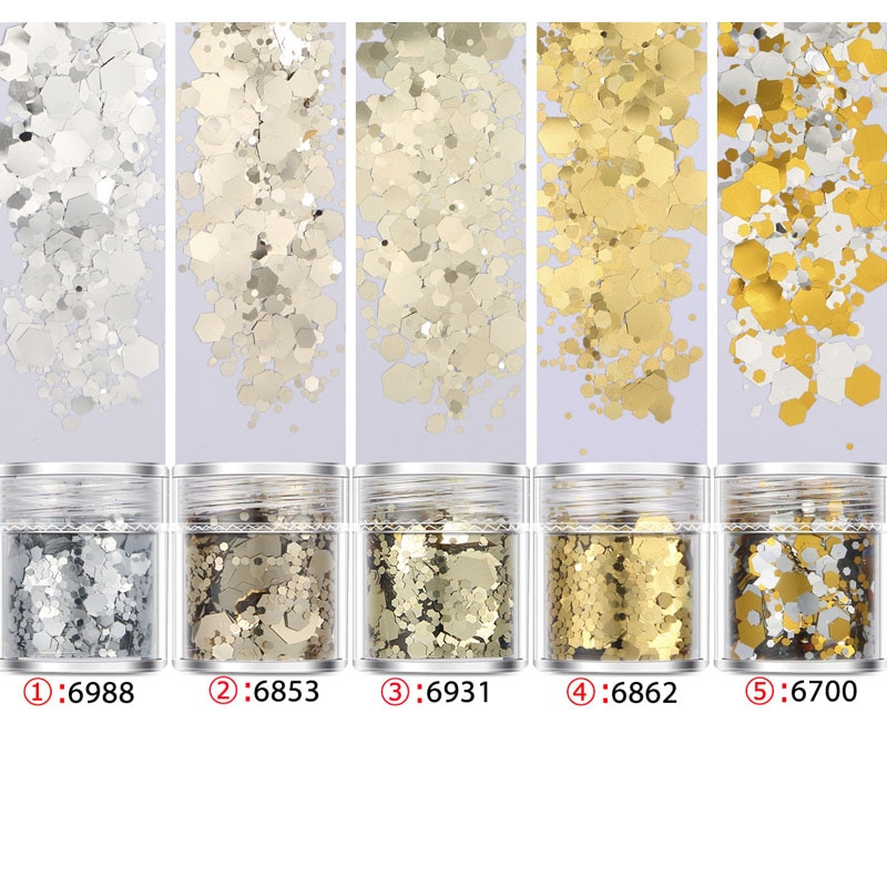 1jar Mix Size Nail Glitter 10ml/box Shinny Champagne Gold Acrylic Powder Dazzling Pigment Rubbing For Nails Manicure Dust FKW722