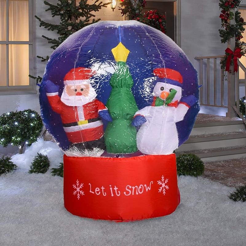 كرة الثلج قابلة للنفخ العملاقة مع سانتا كلوز كريستال شفاف نفخ عيد الميلاد ألكرة الأرضية في الهواء الطلق سوبر ماركت الزينة