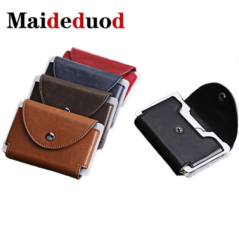Maideduod New Credit Card Holder Wallet Men Women Metal RFID Vintage Aluminium Bag Crazy Horse PU Leather Bank Cardholder Case