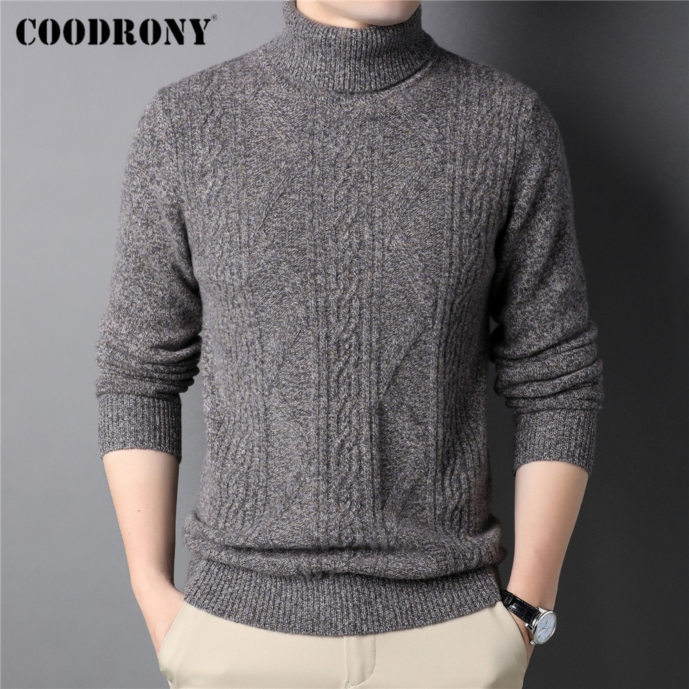 COODRONY Fashion Casual Thick Warm Winter Turtleneck Sweater Men Clothing 100% Merino Wool Cashmere Knitwear Pullover Male C3139
