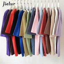 Jielur Tee Shirt 15 Effen Kleur Basic T-shirt Vrouwen Casual O-hals Harajuku Zomer Top Koreaanse Hipster Wit Tshirt S-XL
