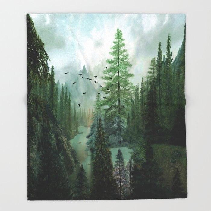 Manta personalizada con diseño de montaña y mañana mantas manta de lana sofá/cama/avión ropa de cama a cuadros de viaje toalla
