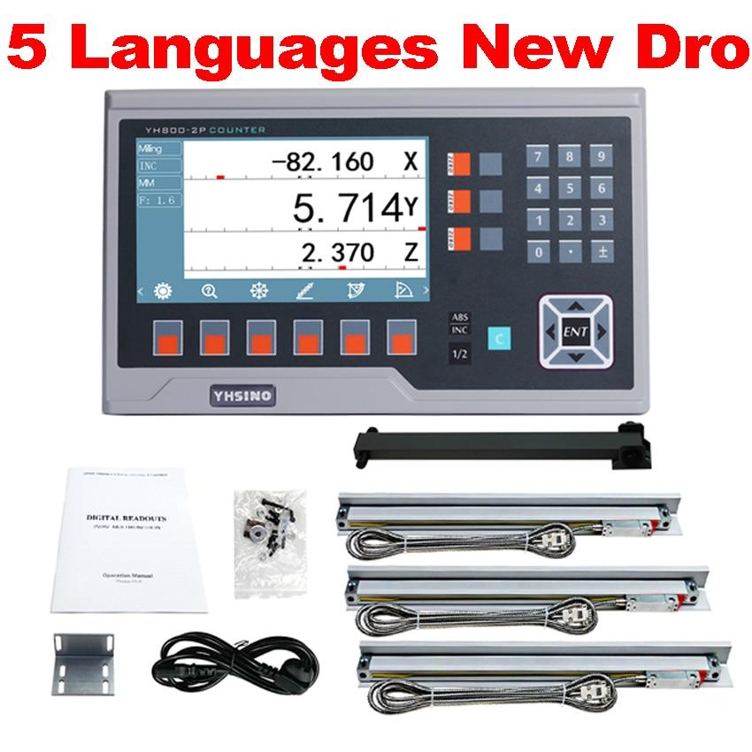 YH800 большой LCD многоязычный Dro набор линейных линий 5U 50 мм до 1000 мм для машин Быстрая доставка YIHAO GD горячая распродажа без НАЛОГА