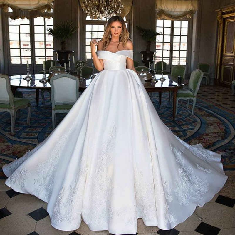 Luxury A Line Wedding Dresses 2021 robe de mariée Elegant Off The Shoulder Wedding Gowns Custom Made Sweep Train Bridal Dresses