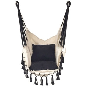 Tassel Hanging Chair, Outdoor for Adults and Children indoor Hanging Chair with Cushion Canvas Swing