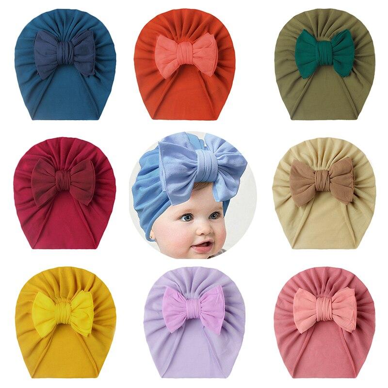 Милые детские шапки, детская индийская шапка с бантом, однотонная детская шапка для мальчиков, Милая Детская шапка-тюрбан
