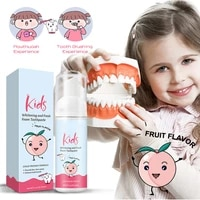 kids toothpaste foam toothpaste peach flavor teeth stains removal whitening mousse reduce bad breath for kids children