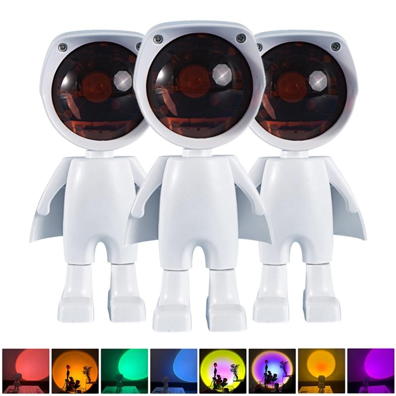 Робот Дизайн USB светодиодный проектор атмосфера Ночной светильник сенсорный Управление дома номер настенный Декор проекции закат лампа дл...
