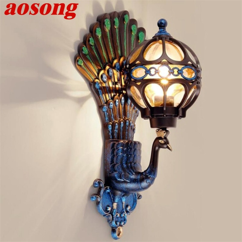 AOSONG Outdoor Wall Sconces Lamp Classical LED Peacock Light Waterproof Home Decorative For Porch