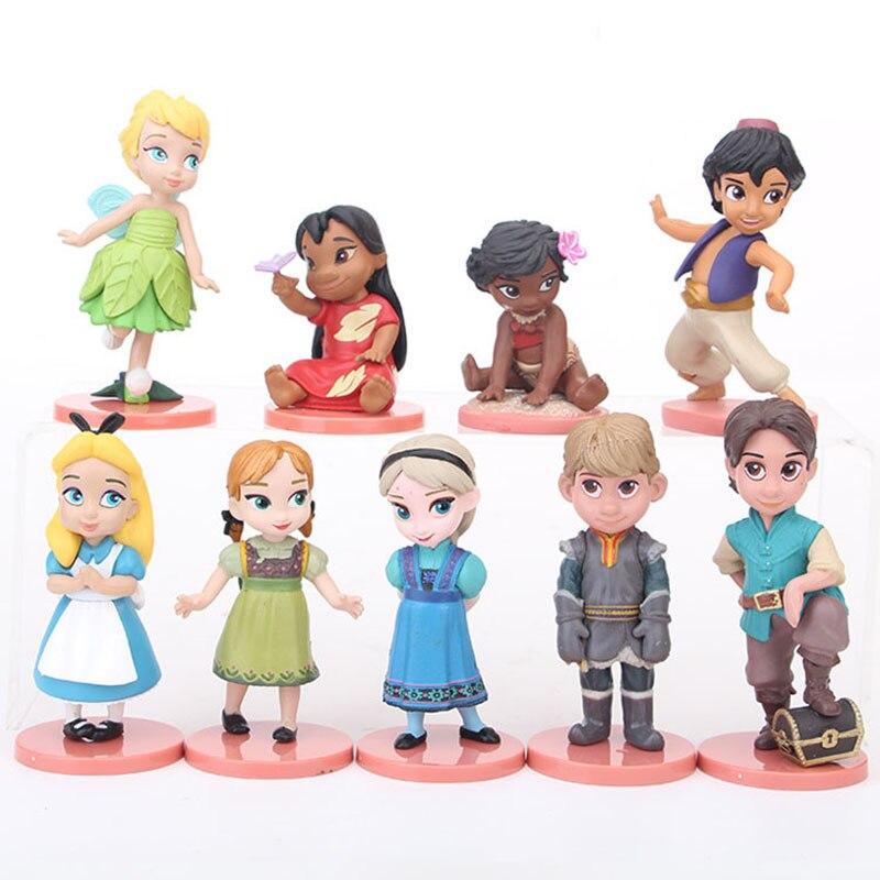 9 Stks/set Disney Prinsessen Beeldjes Model Westerse Animiation 5-8Cm Speelgoed Frozen Elsa Witte Sneeuw Kristoff Poppen Kinderen gift