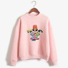 Kawaii buttercup powerpuff aesthetic cute girls Sweatshirt Fashion Womens Clothing Cartoon print hoodie autumn fashion top