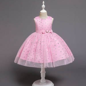Fashion Children Wedding Kids Prom Party Dress Beaded Crystal Top Ball Gown Tulle Elegant Pink Flower Girl Dresses