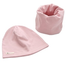 New Spring Autumn Cotton Children Hat Cap Set Winter Boys Girl Neck Scarf Warm Cap Kids Beanies Sets