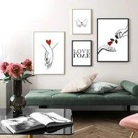 Toile de peinture nordique douce de fleur damour tenant la main  affiche dart murale minimaliste  decoration de salon  cadeau de Couple