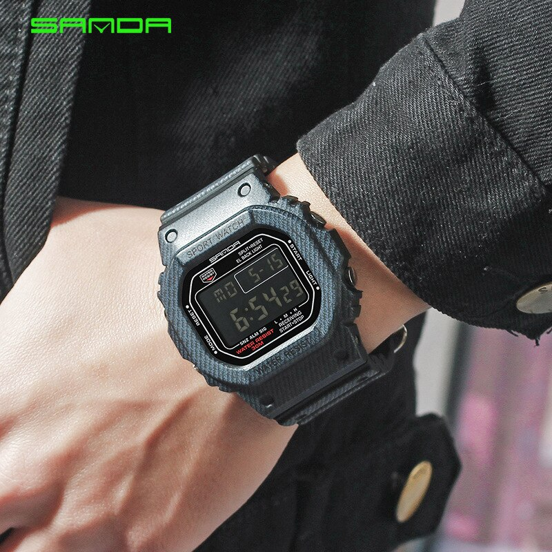 SANDA Digital Sport Watches Waterproof Couple Watch Lover's Wristwatches Outdoor Multi-function Women  Fashion Creative Clock enlarge
