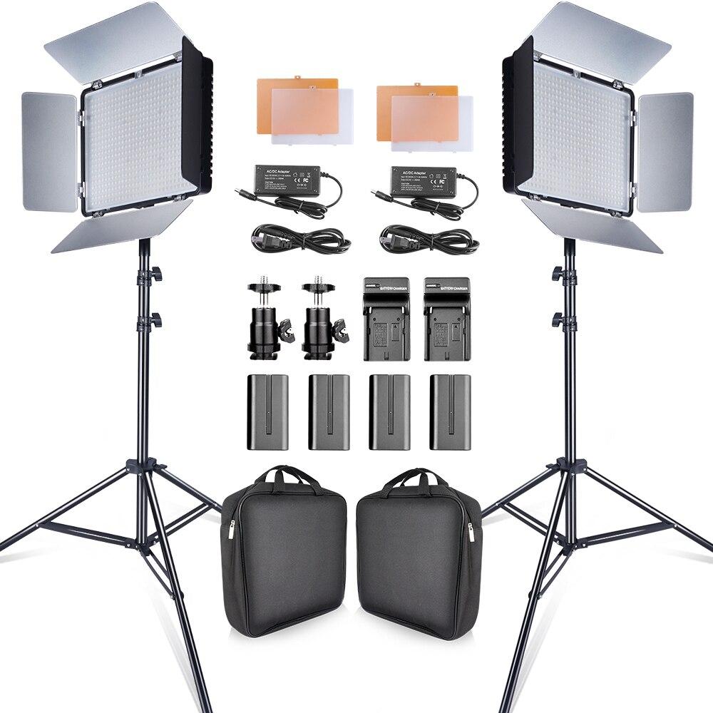Travor 2 مجموعة 600 قطعة استوديو كاميرا إضاءة صور 3200K/5500K CRI93 led الفيديو الضوئي عدة مع 2 متر ترايبود وبطاريات NP-F550 youtube