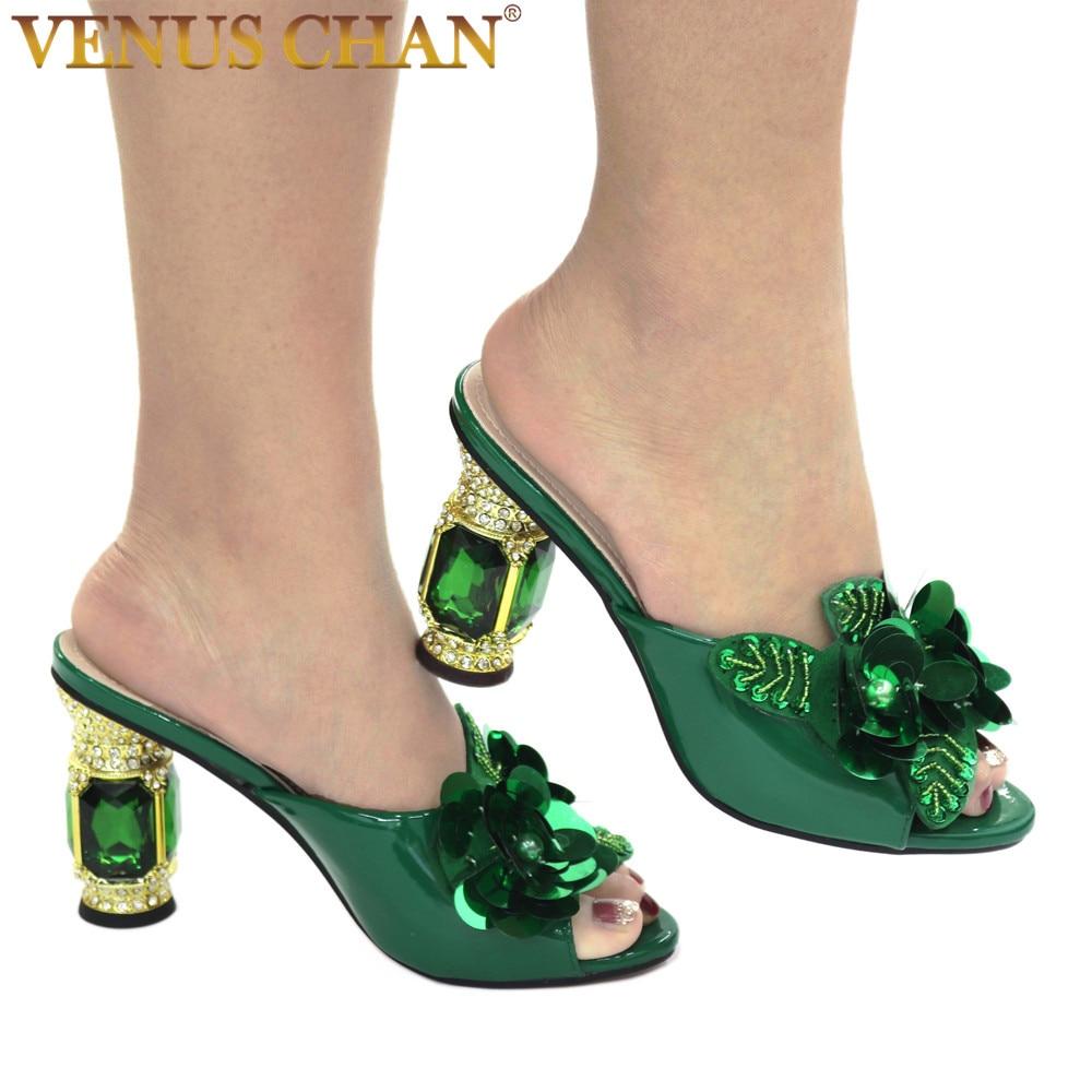 AliExpress - Latest Green Color African Pumps Shoe Summer High Heels Italy Women Wedding Shoes Rhinestone Elegant Women Summer Slipper Shoes