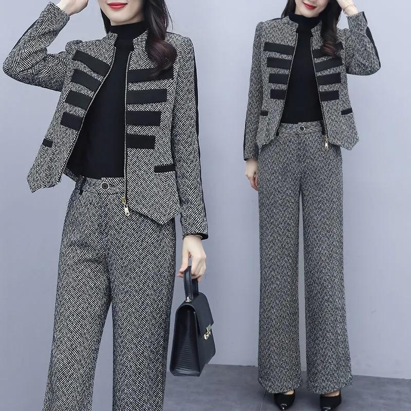 مكتب السيدات أنيقة الصوف Blends دعوى النساء الزي الموضة زمم سترة قصيرة و Vintage واسعة الساق بانت عادية قطعتين مجموعات
