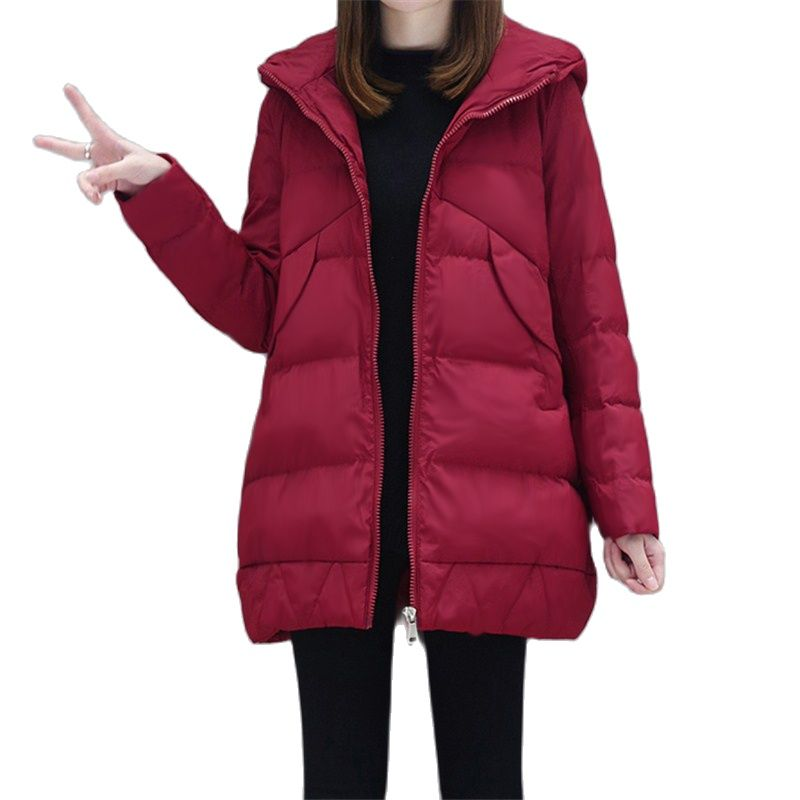 2021 New Cotton coat Female Parka Mid-Length Hooded Down Cotton Winter Jackets Casual Cotton Padded