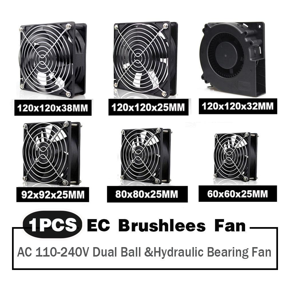 EC Axial Fan 60mm 80mm 90mm 120mm Ball Brushless Cooler AC 110V 120V 220V 230V 240V Computer Case 6025 8025 9225 12038