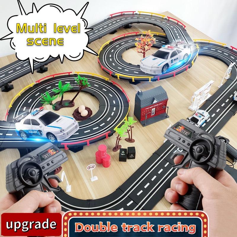 Juego de vías de ferrocarril eléctrico para niños, pista de competición de...