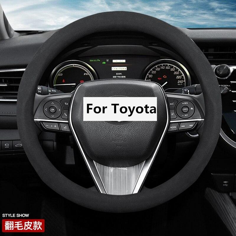 "Замшевый кожаный чехол на руль 38 см 15 ""для Toyota 86 Agya Allion Auris Avalon Aygo Vios Vitz Yaris Mark X Hilux Alphard"