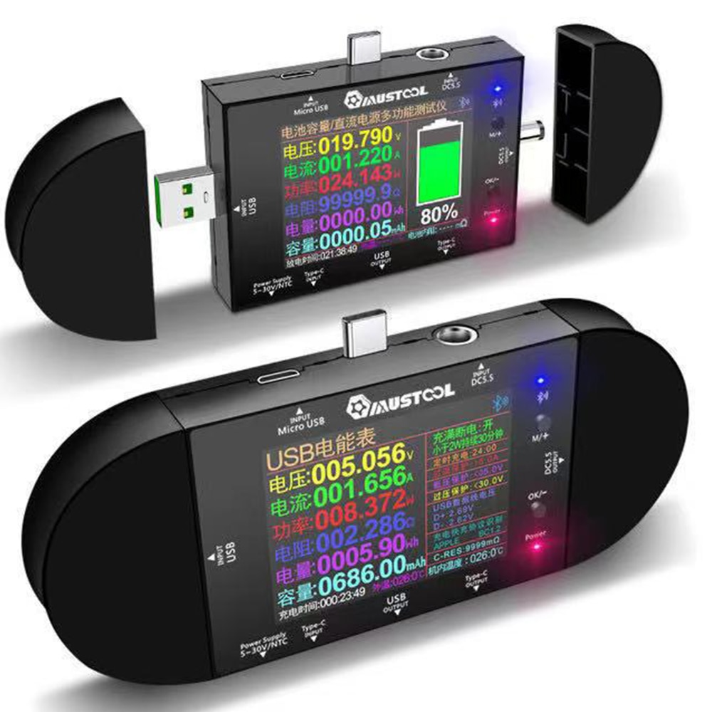 Banco de Potência Elétrico para App Polegadas Tester Dc5.5 Tipo-c Digital Voltímetro Amperímetro Tensão Detector Volt qc pd Medidor Ud24 2.4 Usb