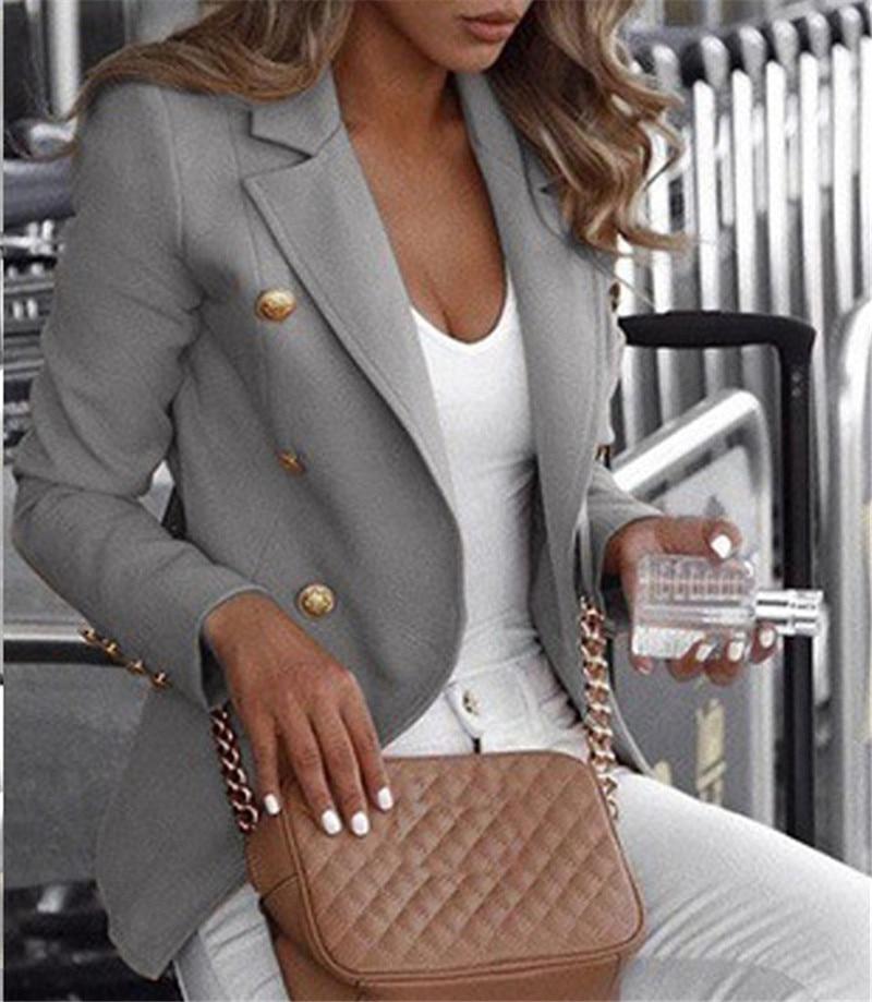Womens Business jacket, autumn and winter clothing, large size casual vest 4XL, slim Botton, lapel, luxury coat