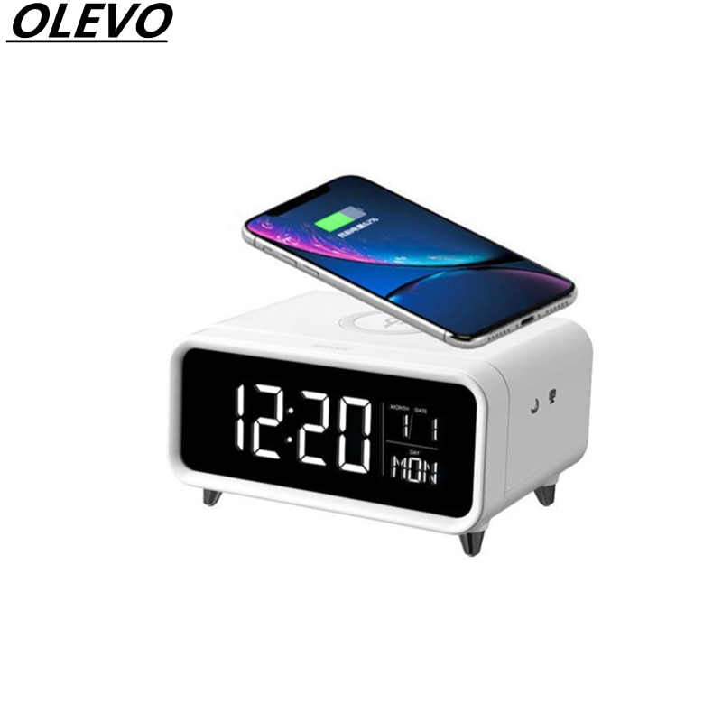 Wireless Charger Multifunctional Bedside Clock Date Night Light For iPhone 12 Mini Pro Max Xiaomi Huawei 5W Fast Charging Base
