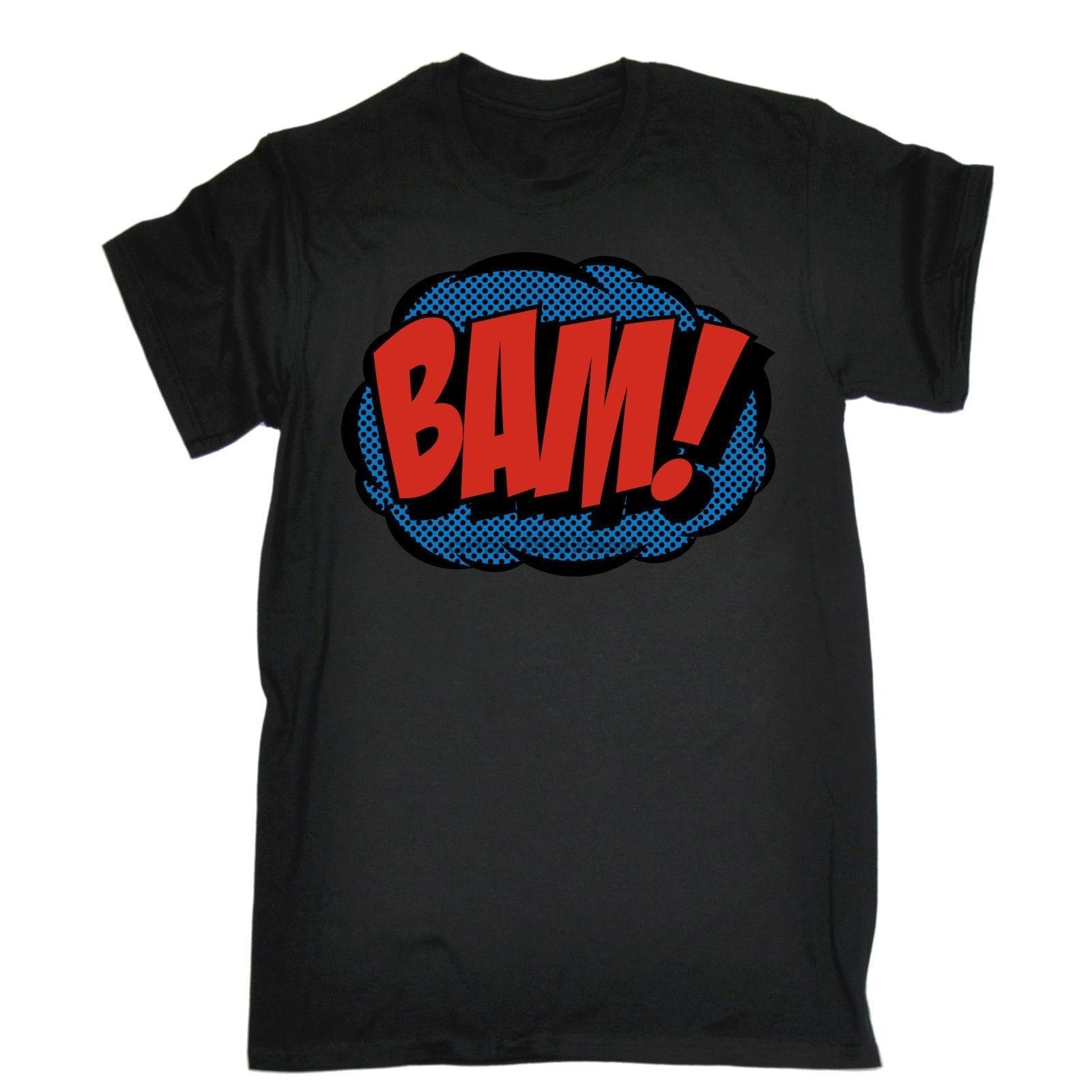 Comic camiseta Bam Tee cómics de superhéroes Geek arte Pop arte acción divertido regalo de cumpleaños de los hombres nuevos de alta calidad nueva moda T camisa