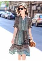 2020 summer new silk dress womens mid length waist slimming popular trend silk dress