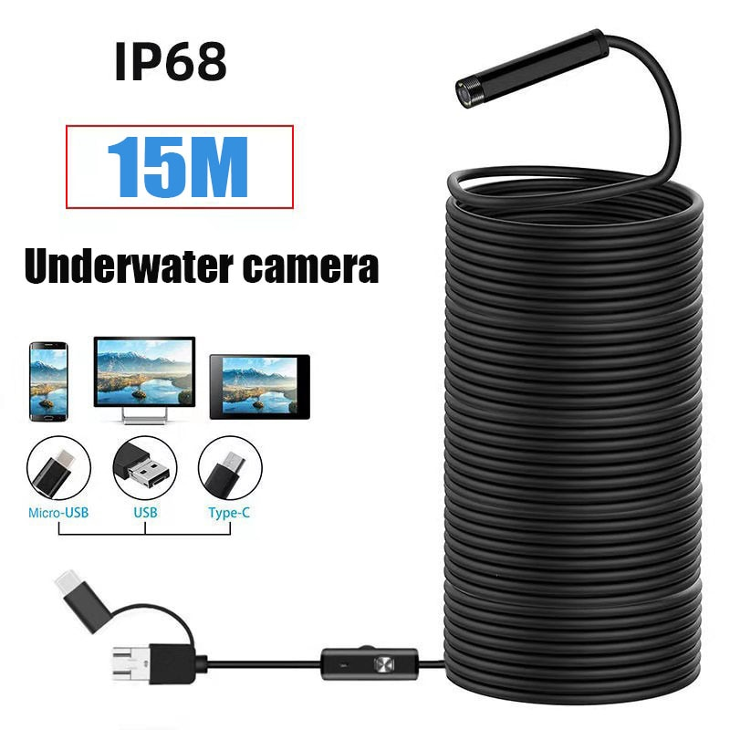 15M HD underwater camera 5 mega-pixel visual fishing device wire connection mobile phone tablet 8LED illuminated fish finder