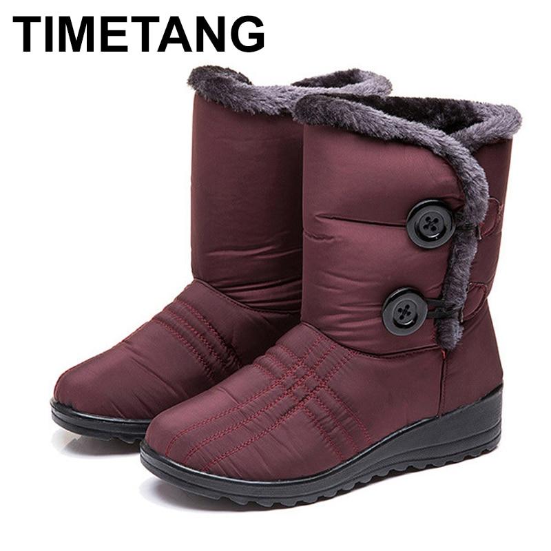 Botas de invierno TIMETANG para mujer, botas a la mitad de la pantorrilla, botas de invierno muy impermeable para mujer, zapatos de felpa para mujer E900