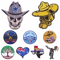hippiepunk skull patch embroidery patches on clothes iron on patches for clothing mountain wave patches for clothes stickers