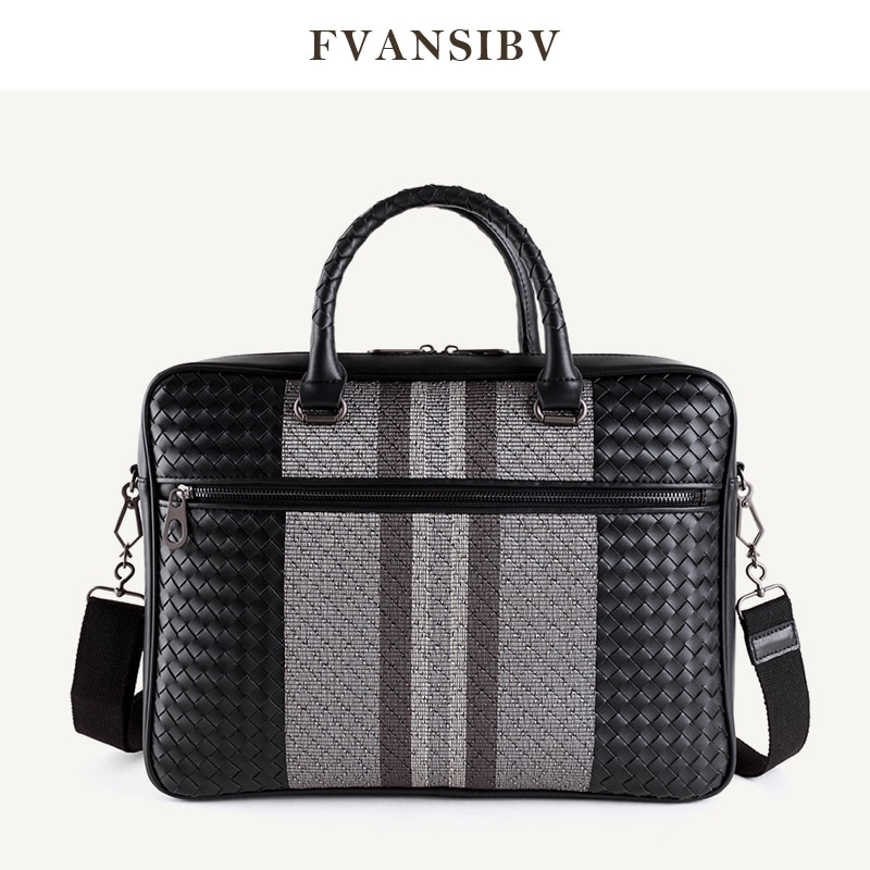 HandBag Men's Leather Luxury Brand Business Briefcase Leather Woven Bag Fashion Shoulder Bag ComputerBag Large Capacity 2021 New