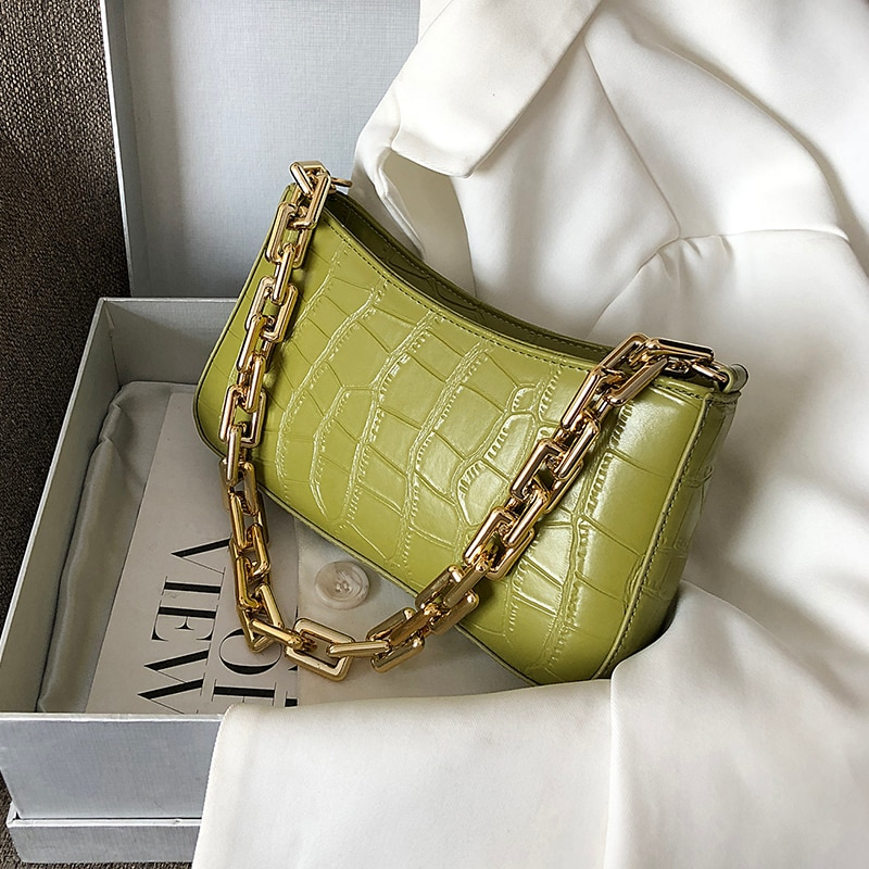 Stone Pattern PU Leather Armpit Bag For Women 2021 Solid Color Chain Shoulder Handbags Female Travel