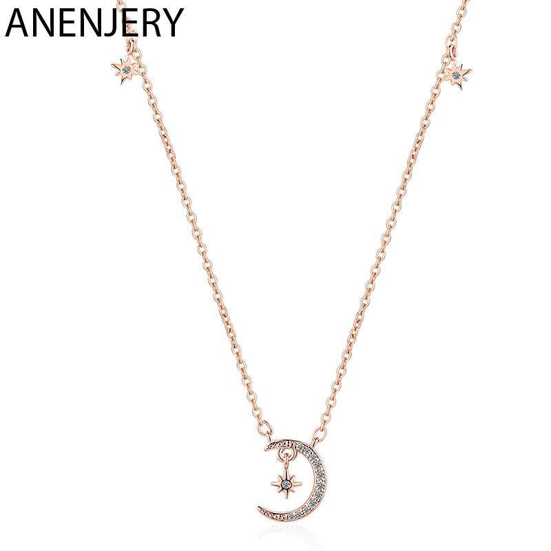 Anenjery moda simples lua estrela clavícula corrente colares cor prata micro zircão colar para jóias femininas S-N476