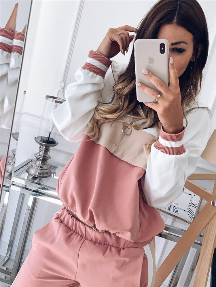 Женский костюм из двух предметов, куртка-бомбер контрастного цвета розового цвета и брюки-карандаш, 2019