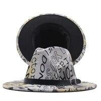 womens 2021 new digital printed wool mens fedora top hat travel hat sun hat casual letter tie dye jazz hat