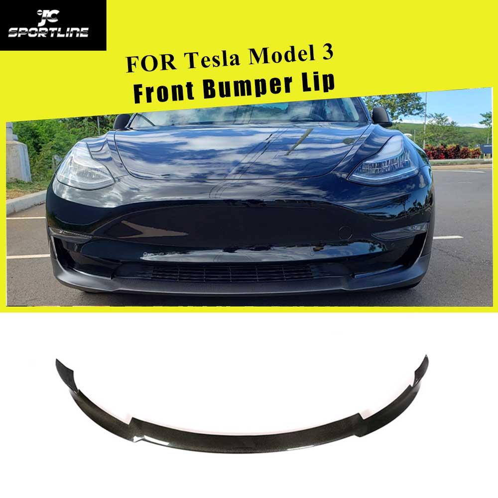 For Tesla Model 3 Base Sedan Long Range Sedan 4-Door 2016 - 2018 Carbon Fiber Front Bumper Lip Splitters Spoiler