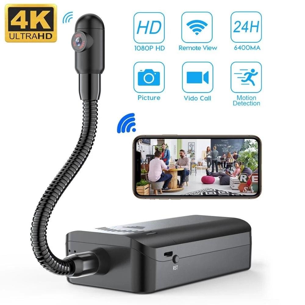 اللاسلكية 4K لتقوم بها بنفسك كاميرا مراقبة عن بعد سرية كاميرا دقيقة واي فاي IP كاميرا الأمن espia للرؤية الليلية كشف الحركة كاميرا فيديو DV