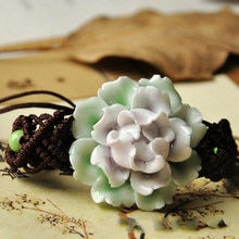 Mode breloque céramique multicolore fleur Style ethnique Bracelet Design Original Bracelet tricoté à la main amulette bijoux cadeaux pour les femmes