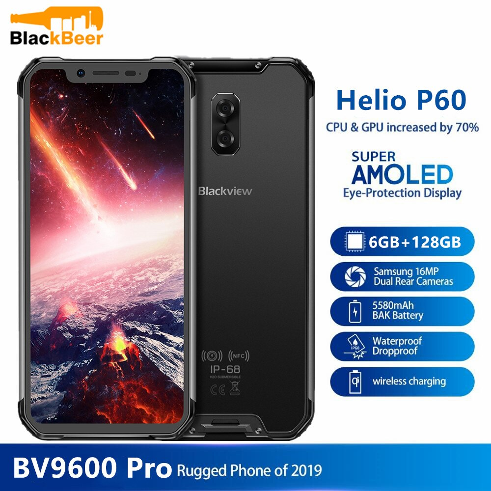 Перейти на Алиэкспресс и купить BLACKVIEW BV9600 Pro IP68 6 ГБ + 128 Гб Смартфон 16MP Face ID 6,21 дюймов FHD + Беспроводная зарядка NFC 4G Android 8,1 GPS мобильный телефон