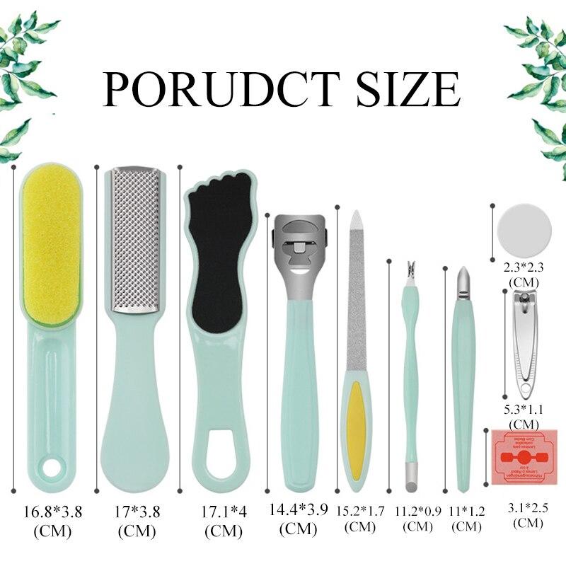 Купить с кэшбэком 10Pcs/Set Manicure Foot Care File Set Dead Hard Skin Callus Remover Scraper Pedicure Rasp Tools Feet Care Tool Kit